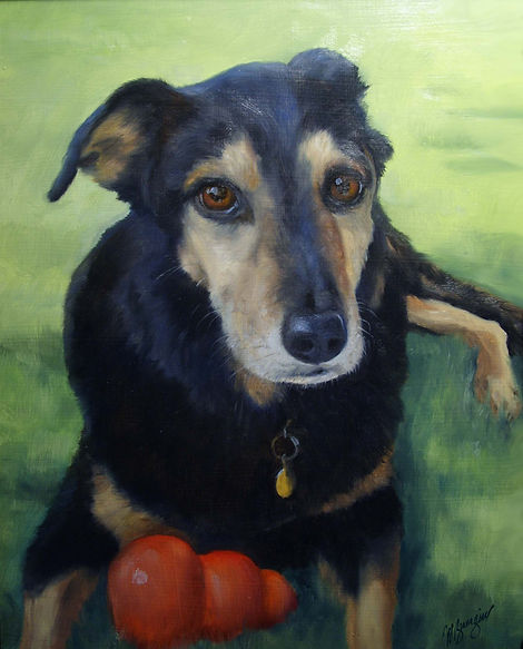 dog portrait original oil painting