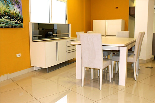 Line Dining Set, 6 Chair + Table + Sideboard + Display