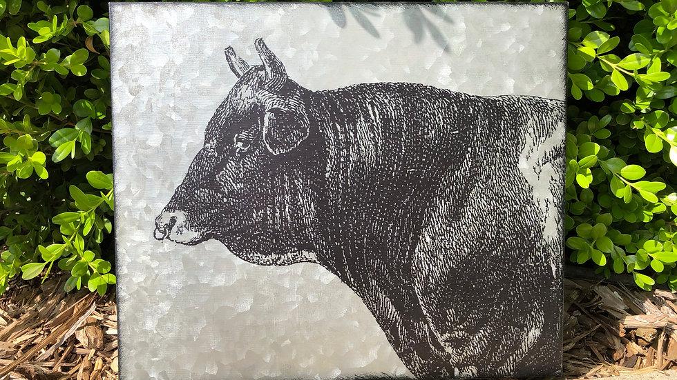 Galvanized Cow Wall Decor