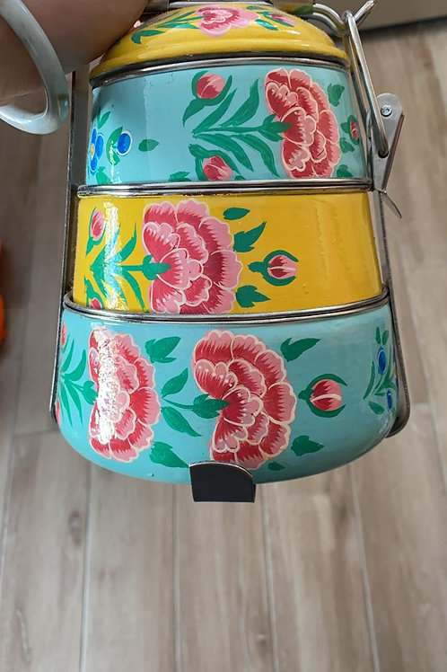 Hand-Painted Floral 3-Tier Tiffin