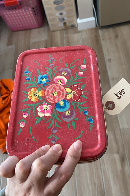 Hand-painted Red Floral Rectangular Lunch Box