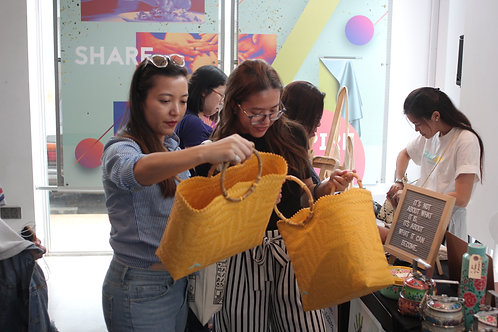 Yellow Hand Woven Bags by HelpingHands Penan