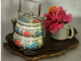 Hand-Painted Silver Floral 2-Tier Tiffin