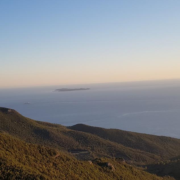 Giannutri sullo sfondo la Corsica