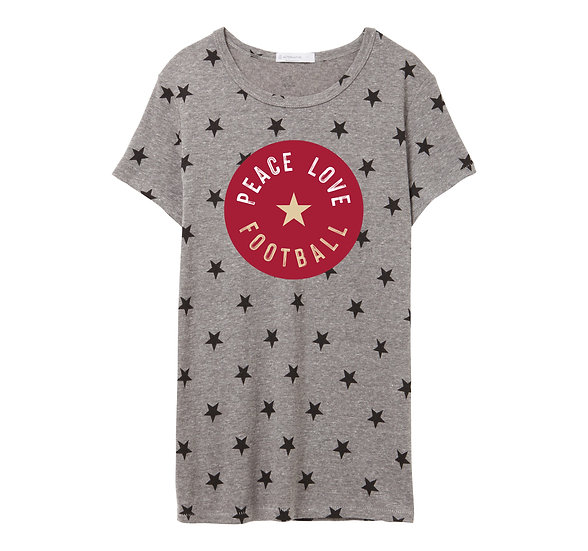 OU Peace Love Football Crew Neck Star Tee