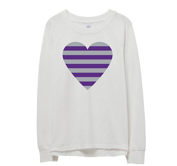 TCU Striped Heart Raw-edge Sweatshirt