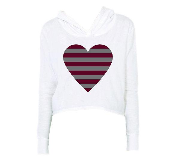 TAMU Striped Heart Crop Hoodie