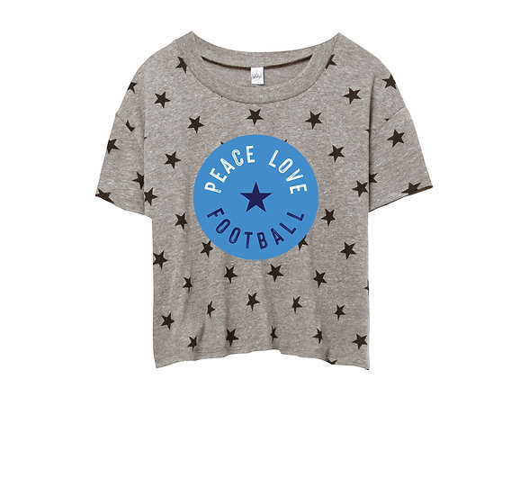 Clements Peace Love Football Crop Star Tee