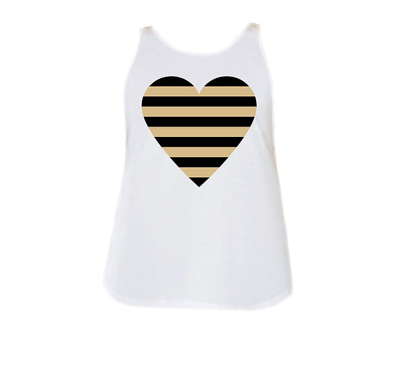 West Point Striped Heart Rounded Tank