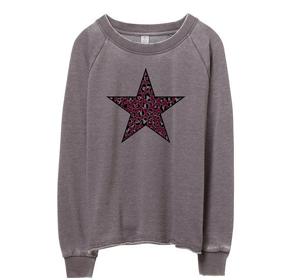 TAMU Leopard Star Raw-edge Sweatshirt