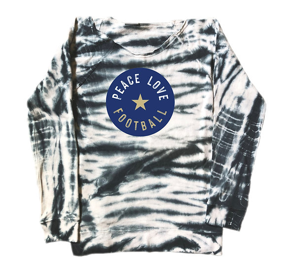 Tulsa Peace Love Football Tie Dye Sweatshirt