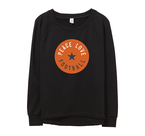 UT Peace Love Football Raw-edge Sweatshirt