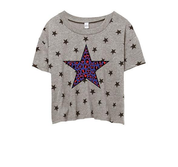 SMU Leopard Star Crop Star Tee