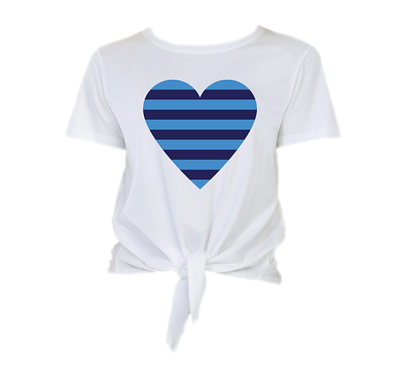Clements Striped Heart Tie Front Crop Tee