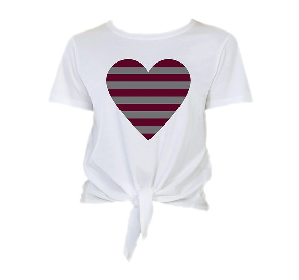 George Ranch Striped Heart Tie Front Crop Tee