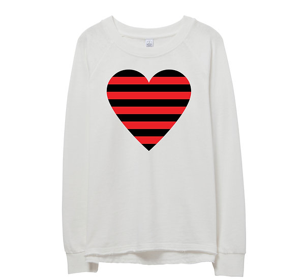 Texas Tech Striped Heart Raw-edge Sweatshirt