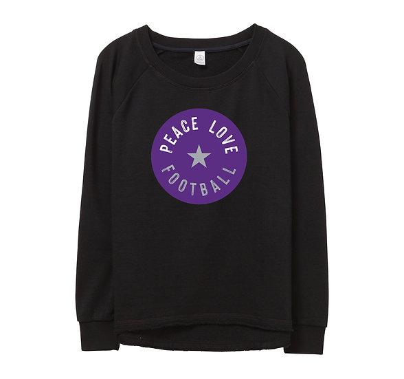 TCU Peace Love Football Raw-edge Sweatshirt