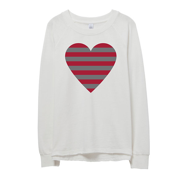 Alabama Striped Heart Raw-edge Sweatshirt