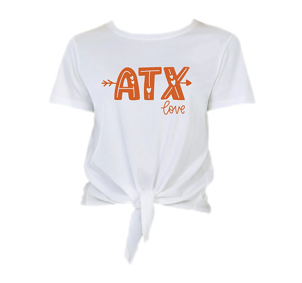 Texas City Love Tie Front Crop Tee