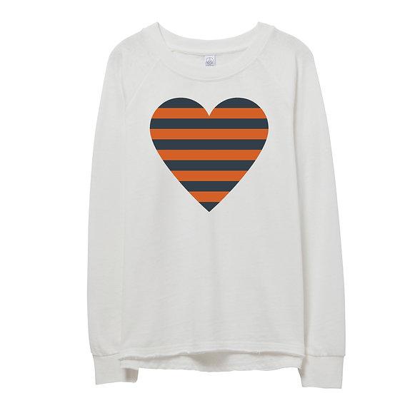 UT Striped Heart Raw-edge Sweatshirt