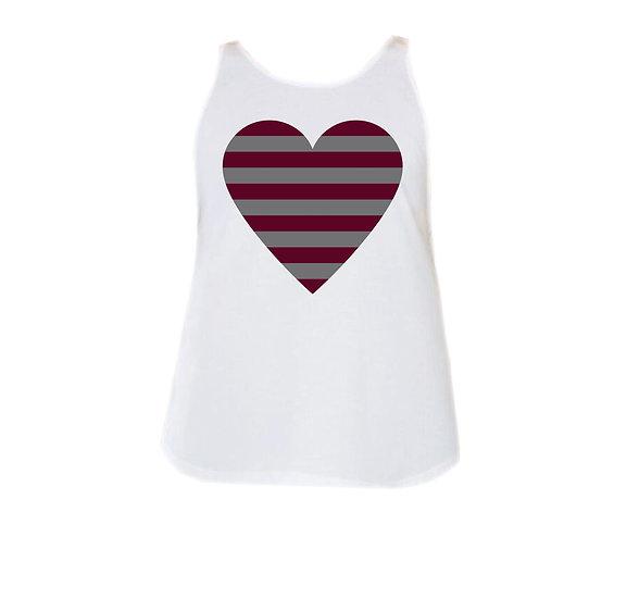 TAMU Striped Heart Rounded Tank