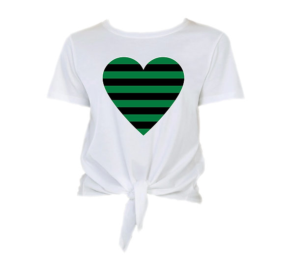 Southlake Striped Heart Tie Front Crop Tee