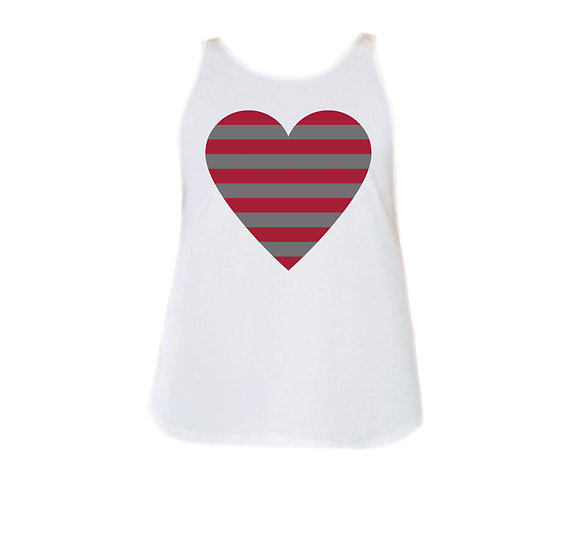 Alabama Striped Heart Rounded Tank