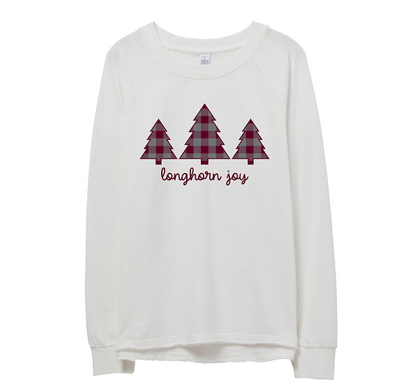 George Ranch Holiday Tree Raw-edge Sweatshirt
