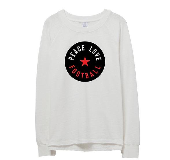 Texas Tech Peace Love Football Raw-edge Sweatshirt