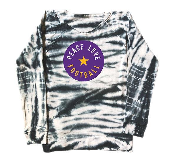 LSU Peace Love Football Tie Dye Sweatshirt