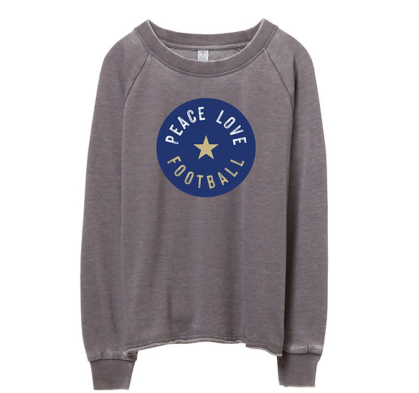 Tulsa Peace Love Football Raw-edge Sweatshirt