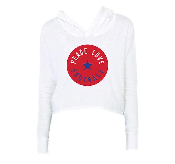 Dulles Peace Love Football Crop Hoodie