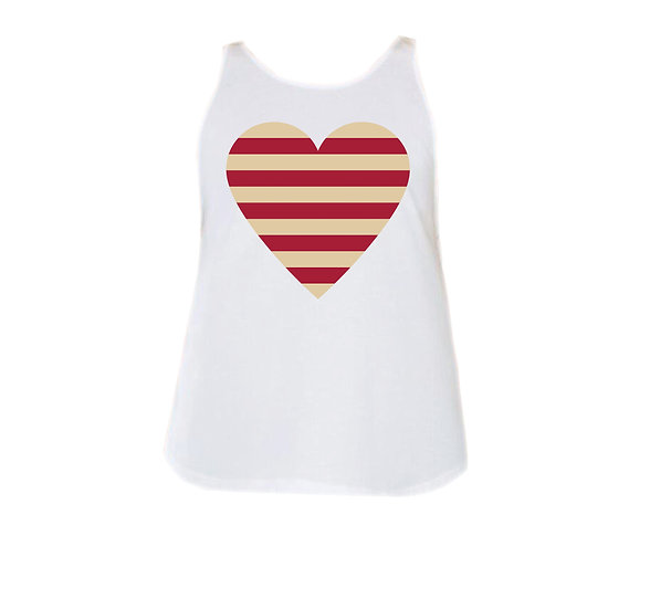 OU Striped Heart Rounded Tank