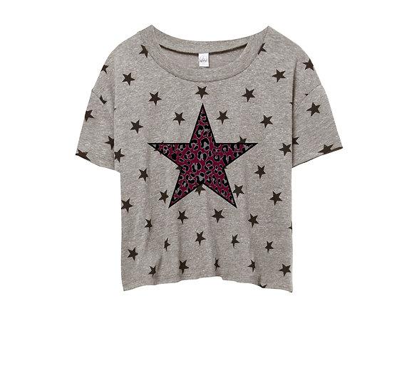 George Ranch Leopard Star Crop Star Tee