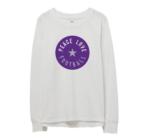 Ridge Point Peace Love Football Raw-edge Sweatshirt