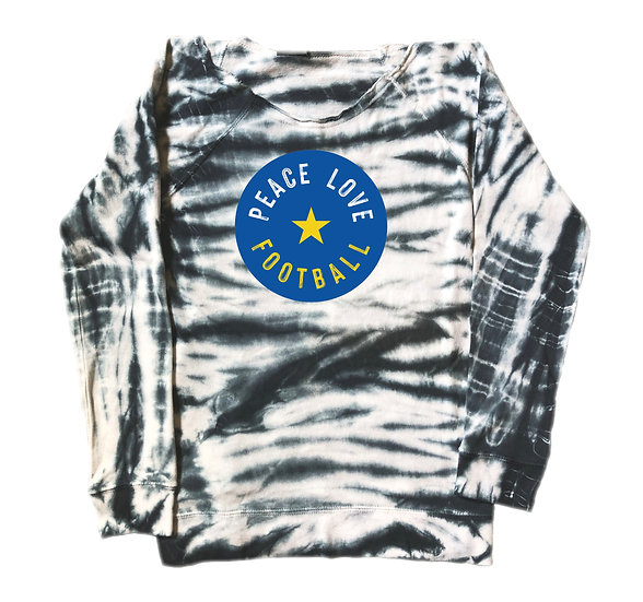Elkins Peace Love Football Tie Dye Sweatshirt