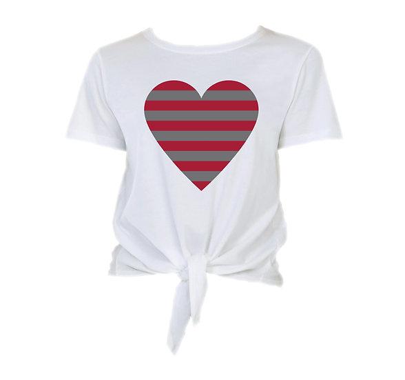 Alabama Striped Heart Tie Front Crop Tee