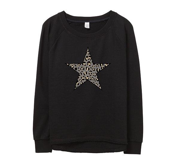 West Point Leopard Star Raw-edge Sweatshirt