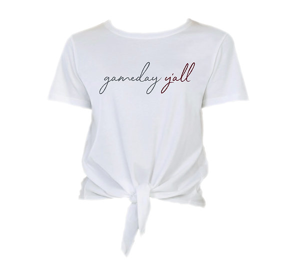 George Ranch Gameday Y'all Tie Front Crop Tee