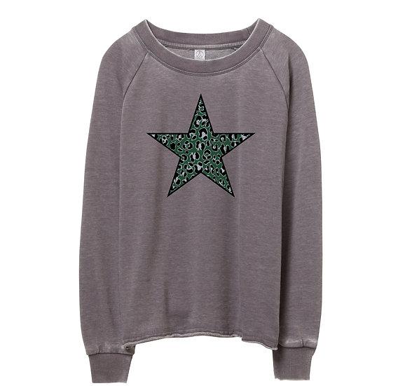 Hightower Leopard Star Raw-edge Sweatshirt