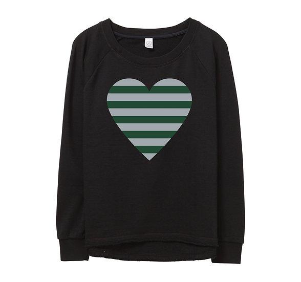 Hightower Striped Heart Raw-edge Sweatshirt