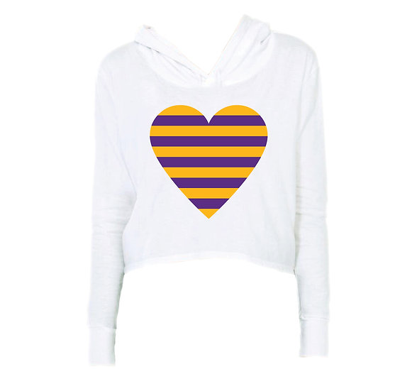 LSU Striped Heart Crop Hoodie
