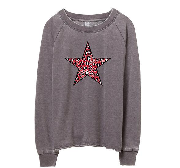 Houston Leopard Star Raw-edge Sweatshirt