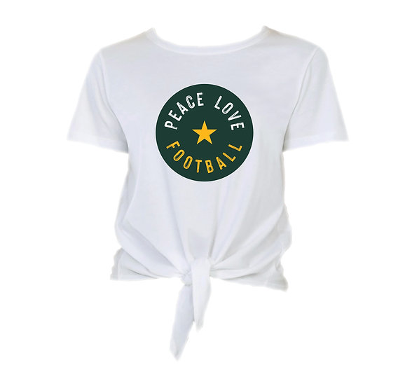 Baylor Peace Love Football Tie Front Crop Tee