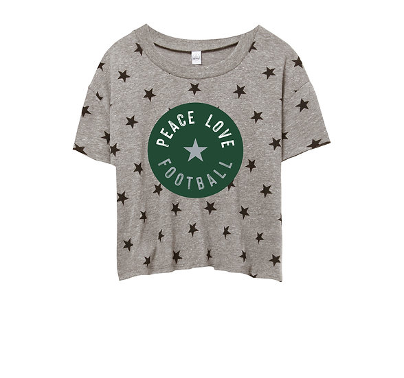 Hightower Peace Love Football Crop Star Tee