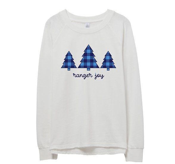 Clements Holiday Tree Raw-edge Sweatshirt