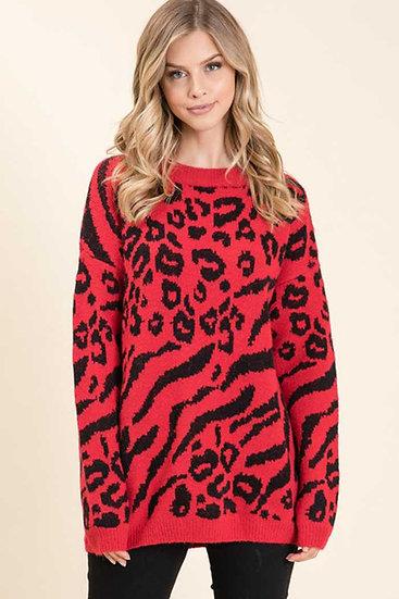 Red Animal Print Sweater