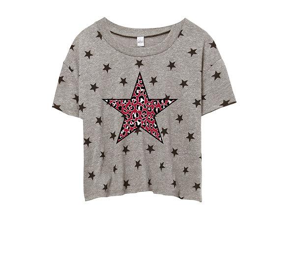 OU Leopard Star Crop Star Tee