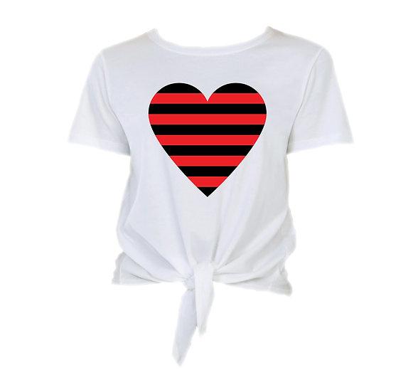 Texas Tech Striped Heart Tie Front Crop Tee