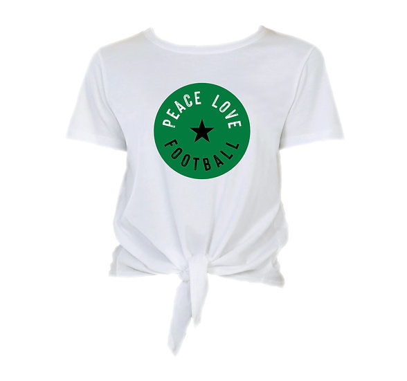 Southlake Peace Love Football Tie Front Crop Tee